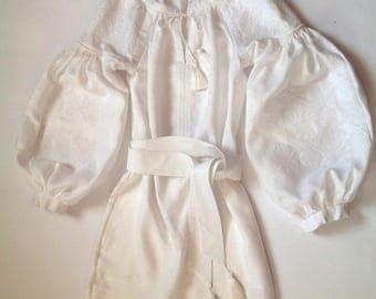 Boho Ukrainian White Linen Dress / vyshyvanka/ Bohemian/ Ukrainian Embroidery/Folk/Sarafan/