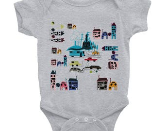 Baby Clothes, Newborn Baby, Unisex Baby, Baby Bodysuit Vest, Baby-grow, Baby Body, Baby Gift, Long-Sleeved Vest, Infant bodysuit, city map