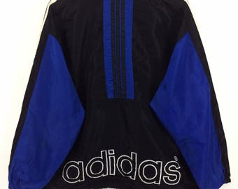Rare !!! Vintage ADIDAS Windbreaker Jacket vtg Adidas Trefoil Big Logo Spellout Color Block Rap Tees Hip Hop Swag