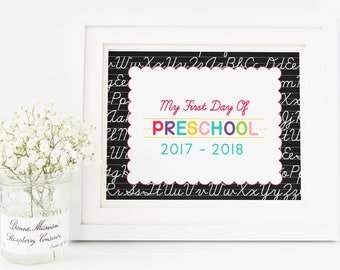 Preschool Sign, First Day of School Sign, First Day of Preschool, First Day Sign