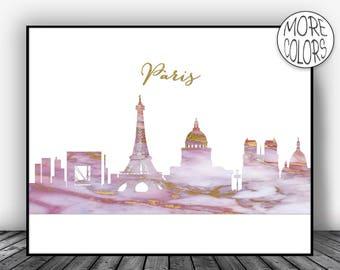 Paris Art Print, Paris Print, Paris Decor, Paris Skyline, Marble Art Print Paris France Paris Poster, Paris Wall Art Office Poster