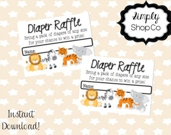 Jungle theme baby shower diaper raffle, tickets, printable, you print, instant download, raffle ticket template, baby, gender neutral.