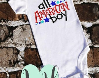 All American Boy - 4th of July Shirt - Red White and Blue - Boys