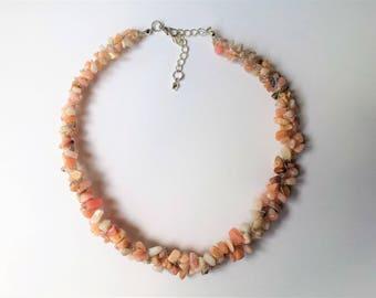 Pink Peruvian opal gemstone chip necklace