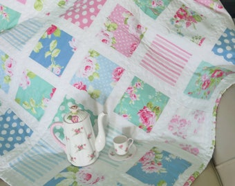 Floral Baby Quilt in White