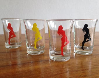 4 pinup shot glasses - vintage