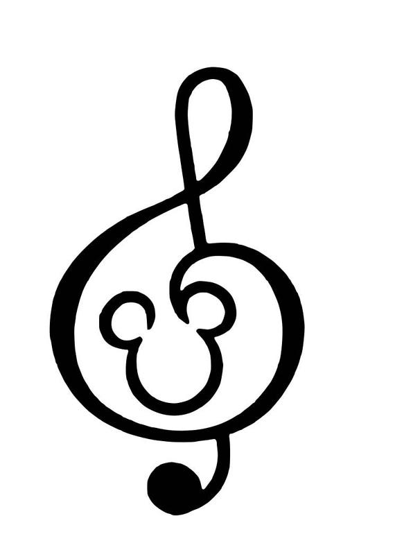 Disney Mickey Music Treble Clef Iron On Heat Transfer Vinyl