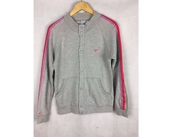 NIKE Streetwear Sweater Medium Size Button Up Nice Design With Pink Stripes
