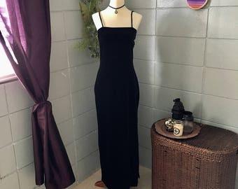 1990's Vintage Black Velvet Dress