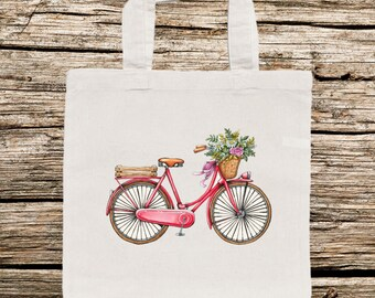 Bike Tote Bag, Bicycle Tote Bag, Personalized Tote Bag, Retro Bike Tote Bag, Vintage Bike, Pastel Bike Bag, Whimsical Tote Bag