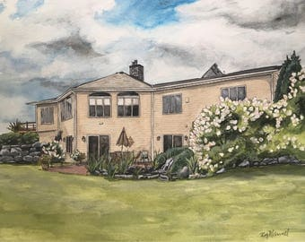 Custom Watercolor House Painting-House Portrait-Home Painting-Family Home