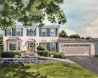 Custom House Painting-House Portrait-Watercolor Painting