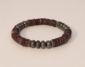 Mens bracelet - Coconut shell bracelet - Pyrite bracelet - Beaded bracelet
