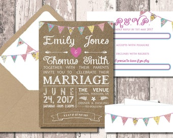 Printable Kraft Bunting Wedding Invitation
