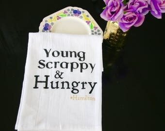 Young Scrappy and Hungry from Hamilton the Musical kitchen towel