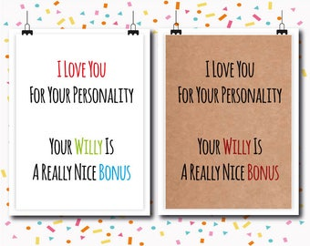 Bonus / Funny Love Cards / Funny Anniversary Cards / Funny Cards / Humour / Rude Cards / Greetings card / RawCards / boyfriend / husband