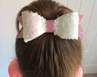 Reversible sequin bow, sequin hair clip, glitter hair bow, sequin head piece, reverse sequin, pink and white hair bow, sparkly hair bows