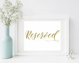 Printable. Reserved sign, rustic wedding sign, Gold wedding sign, antique gold sign, reserved ceremony sign, reserved seating, 00L3