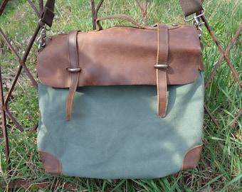 Vintage Jesslyn Blake Bag, Mens Messenger Bag, Leather Messenger Bag, Canvas Messenger Bag, Vintage Waxed Canvas Handbag