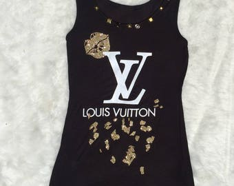 Bling Louis Vuitton Inspired Tank top, Bling Tank Top, Custom Prints, Louis Vuitton Inspired Neck Embellishment, LV Button, Unique Tank