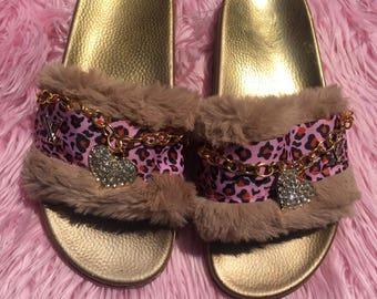 LV inspired, Painted Slides, Gold Slides, Customized Slides, Faux Fur Slides, Fun Fur Leopard Print Pink Slides