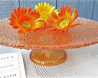 Orange Crush Pedestal Cake Stand/Birthday Cake Stand/Orange and Teal Wedding Decor/DIY Orange Cake/Fall Wedding Decor