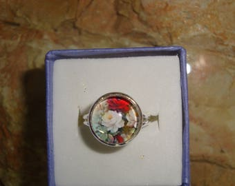 floral cabochon silver ring