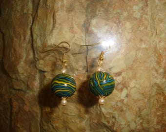 Gold polymer pendant and Earring Pearl