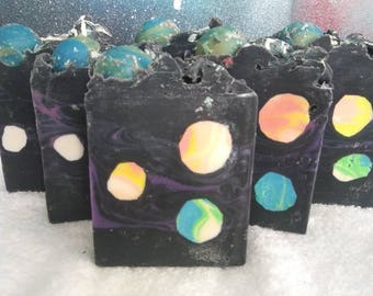Fruity scented Galaxy Handmade Artisan Soap with Activated Charcoal