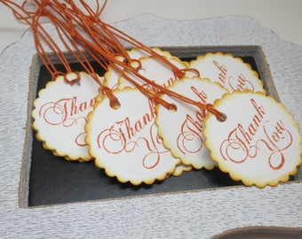Thank you tags, 12 thank you tags, cardstock tags, tags, ready to ship tags, white and orange tags, hand punched and stamped tags