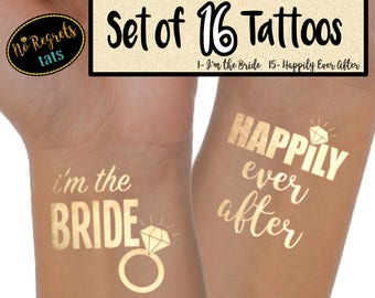 Happily Ever After Tattoo for bachelorette party / Bachelorette tattoo / Gold foil tattoo / Bachelorette party favors