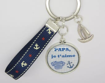 key ring personalized for Dad, brother, friend, sea, Sailboat, sea fan: mother of