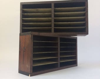 Pair of 50's Vintage rare desk-top pigeon-holes -mahogany case metal shelves