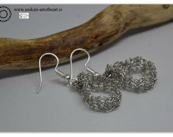 Crocheted Wire Earrings, Wire Jewelry, Wire Earrings, Silver Earrings, Dangle Earrings, Crochet Jewelry, Gift for Women, Valentines Day Gift