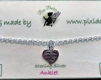 Sterling SIlver Anklet with 'Live the life you love' charm