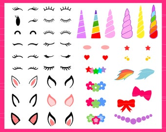 Unicorn kit svg Unicorn svg Unicorn horn svg Birthday svg Make Your Own Unicorn Cut File svg files for Cricut Silhouette svg png eps dxf
