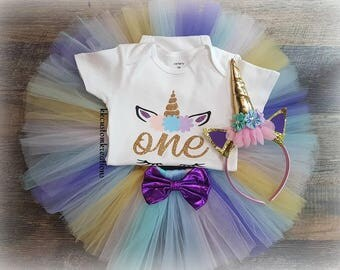 Unicorn Birthday Outfit, First Birthday Girl Outfit, Unicorn 1st Birthday Girl, Cake Smash Photo, Unicorn Headband, Available in 1-3 years