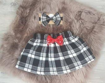 Buffalo Check Skirt, Buffalo Plaid baby skirt, Baby plaid skirt, Toddler Plaid Skirt, Valentine Skirt, Buffalo Plaid Bow
