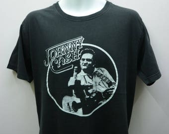 Vintage Johnny Cash Shirt Big Logo  Rock And Roll Classic Rock  Country Rock  American Rock Street Wear Round Neck Top Tee Size