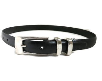 Fossil Black Leather Belt, Vintage Women's Silver Tone Belt Smooth Leather Suit Accessory