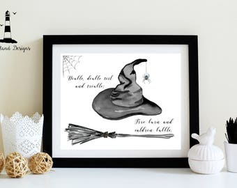 Witch Hat Print, Halloween Witch Print, Double, Double Toil and Trouble Print, Halloween Print, Witch Decor, Halloween Decor, Downloadable