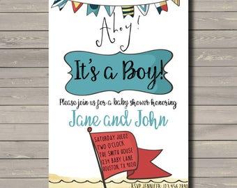 Ahoy Its a Boy Baby Shower Invitation, Its a boy, Baby Shower, Nautical Baby Shower, Nautical Party