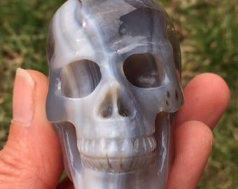 """Large 2.5"""" Beautiful Blue, Grey & White Banded Agated Realistic Carved Skull - Free Shipping"""