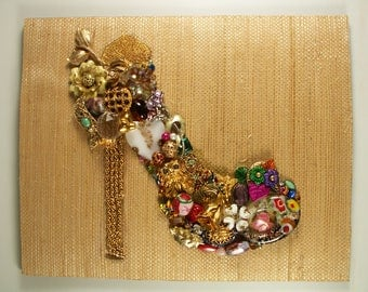 Jewelry Art, Rhinestones and Crystals, Hand Crafted, Mixed Media, Collage