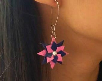 Origami Jewelry - Origami Star Earrings -Japanese Washi Paper Earrings- Drop earrings- French hook earrings