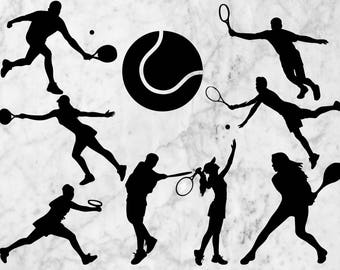 Tennis SVG Cutfiles, Tennis Silhouette Vectors, Dxf files, Tennis Eps for Cricut/Silhouette Cameo, Sport Silhouette svg, Decal, Vinyl design