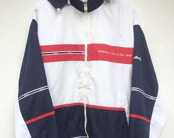 MEGA SALE Vintage Ellesse Perugia Italy Spellout Logo Ribbon Windbreaker Jacket Size Jaspo O / Ellesse Jacket / Ellesse Windbreaker Outerwea