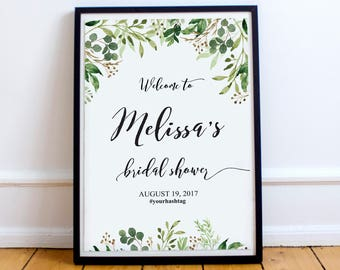Bridal Shower Welcome Sign, Bridal Shower Poster, Bridal Shower Sign, Greenery Bridal Shower Sign , Bridal Shower Welcome Poster