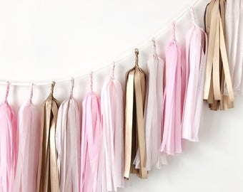 Blush Rose Gold Tissue Paper Tassel Garland Wedding Banner 1 st Birthday Backdrop Pastel Balloon Tassel Dusty Pink Nursery Decorations