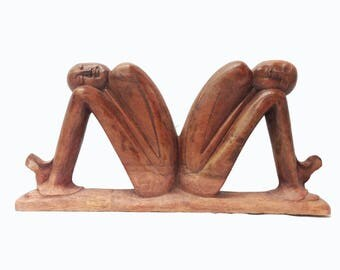 The Dreamers, hand-carved suar wood from Mas, Bali, Indonesia